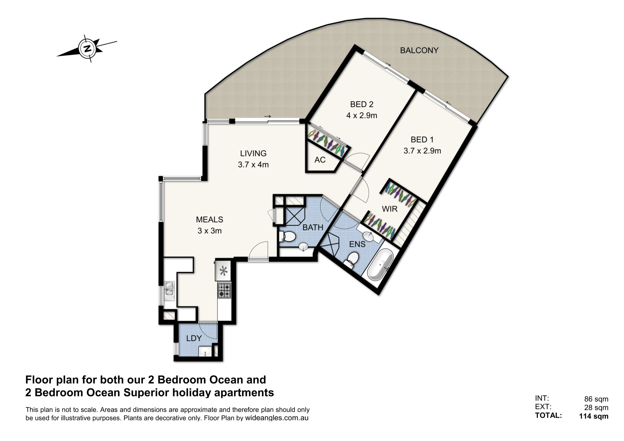 (2 Bed) Floor Plan North Face - Ocean & Ocean Superior & Double Web