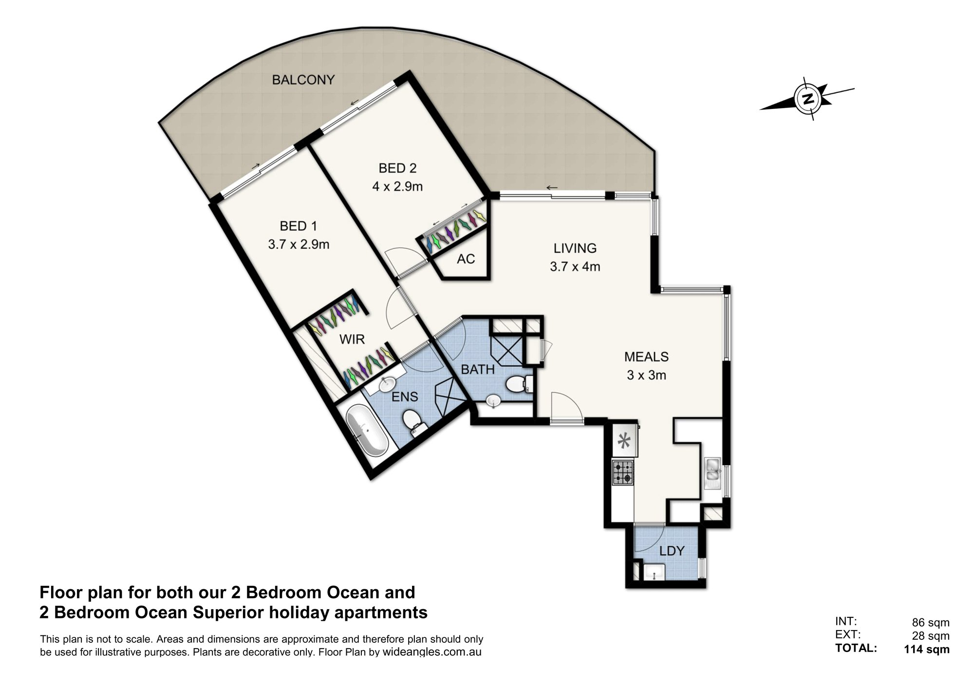 (2 Bed) Floor Plan South Face - Ocean & Ocean Superior & Double Web